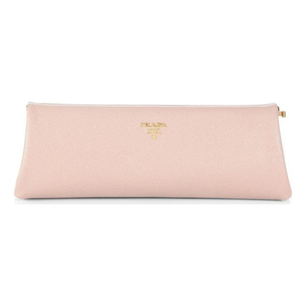 PRADA saffiano lux clutch - Signature saffiano leather clutch with a frame closure....
