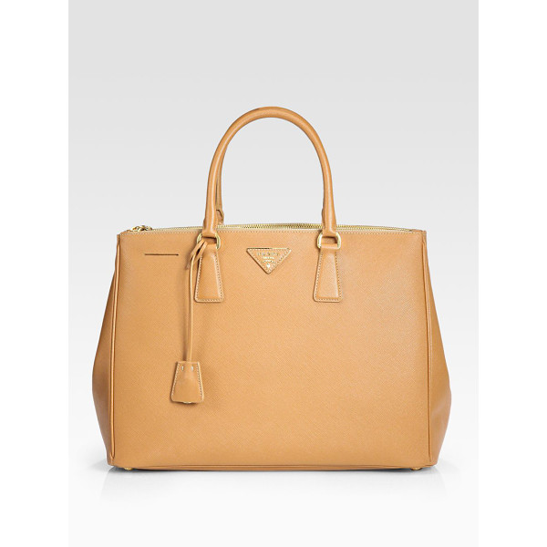 PRADA saffiano lux large double-zip tote - Rich calfskin leather finished with signature etching, all