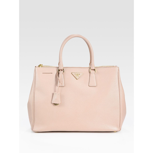 PRADA saffiano lux large double-zip tote - Rich calfskin leather finished with signature etching, all...