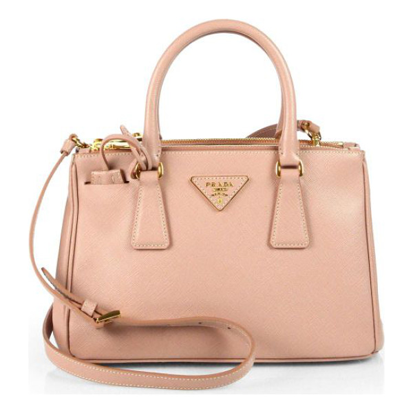 PRADA Saffiano lux small double-zip tote - Crafted from beautifully textured Saffiano leather, this...