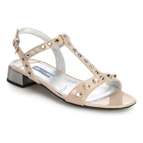 PRADA Studded patent leather sandals - Studs contrast with a playful pastel hue on these sleek...