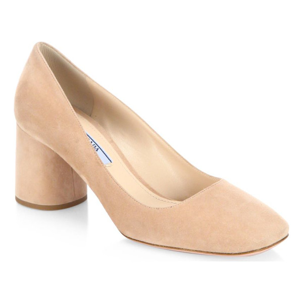 PRADA suede block heel pumps - Sumptuous suede square-toe pump on round block heel....