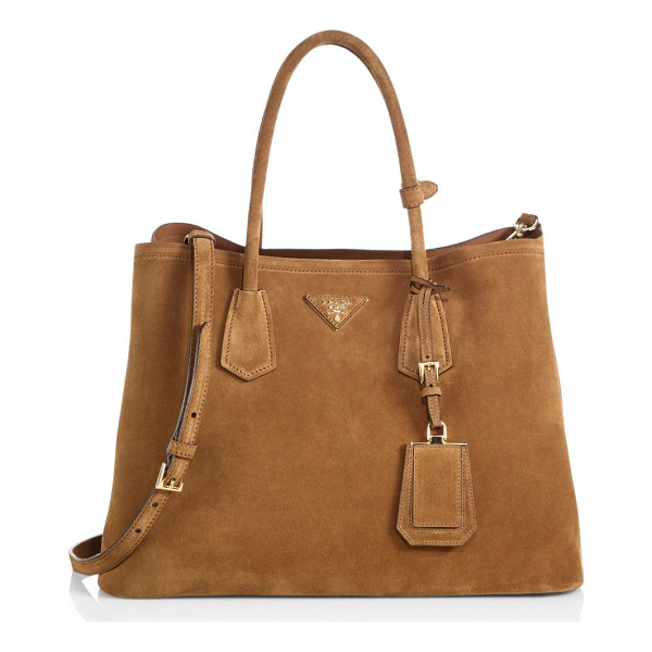PRADA Suede double bag - Impeccably designed in soft suede with a two-compartment...