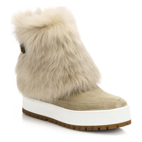 PRADA Suede & sheepskin fur boots - A luxe fur cuff adds plush warmth to this city-cool suede...