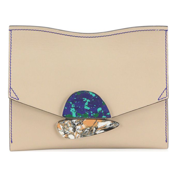 PROENZA SCHOULER curl small leather clutch - Smooth leather clutch with contrast stitching and stone