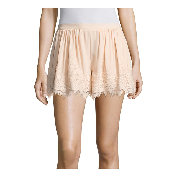 PROSE & POETRY orly lace trim swing shorts - Shirred pair with scalloped floral lace hem. Elasticized...