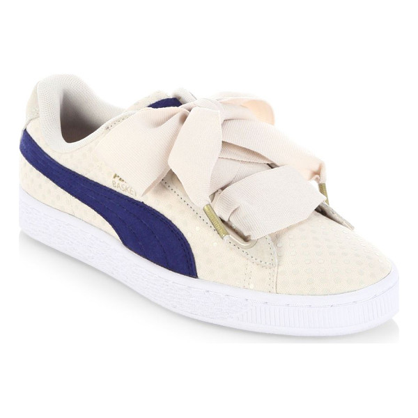 PUMA basket heart denim sneakers - Performance sneakers with oversized lace-up system. Cotton...