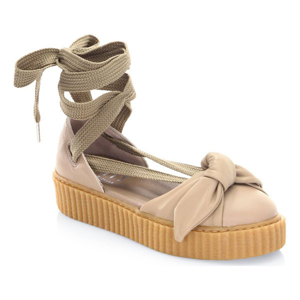PUMA fenty bandana leather creeper flats - Leather flats with lace-up ankle and front bow. Leather...