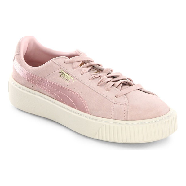 PUMA suede platform sneakers - Lace-up athletic inspired sneakers crafted of suede. Suede...
