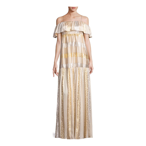 RACHEL ZOE raney metallic patterned gown - Metallic sheen gown with ruffled overlay at neck. Spaghetti...