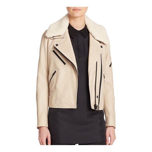RAG & BONE Minerva leather & shearling moto jacket - A removable shearling collar offers soft textural contrast...