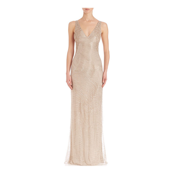 RALPH LAUREN COLLECTION beaded adeena evening dress - Gorgeous, luminous gown, with intricate beading.V-neck....