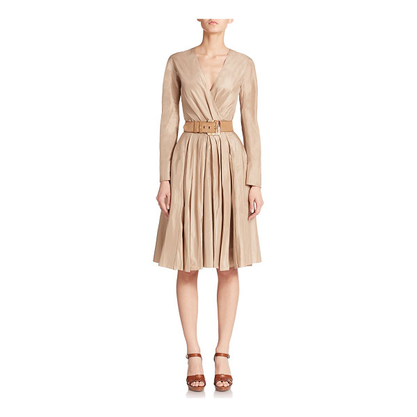RALPH LAUREN COLLECTION Ruched taffeta dress - Crisp pleats add volume to this ladylike fit-and-flare...