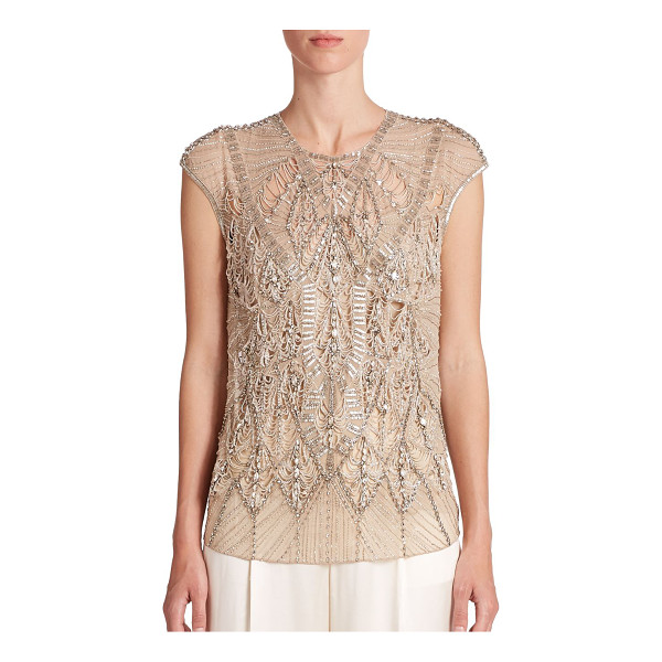 RALPH LAUREN COLLECTION Silk beaded-detail top - Intricate allover beading and dainty cutouts impart...