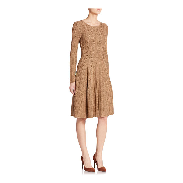 RALPH LAUREN COLLECTION Suede-trimmed silk knit dress - An intricate ribbed pattern complements the streamlined...
