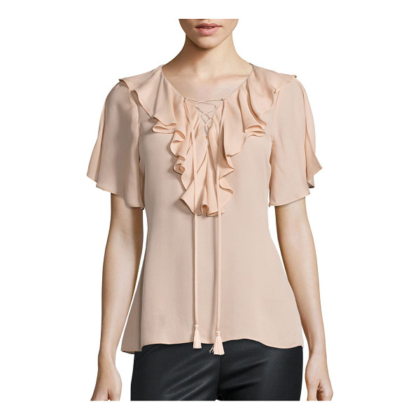 RAMY BROOK addie lace-up flutter sleeve silk top - Smooth feminine top with front ruffle overlay.V-neck with...