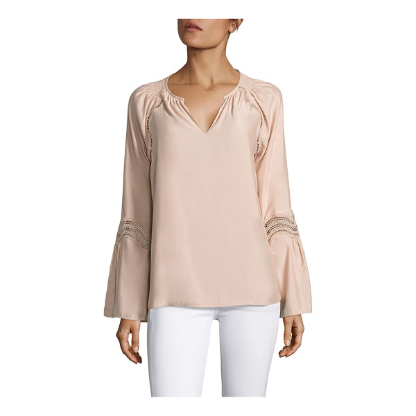 RAMY BROOK astrid lace inset bell sleeves top - Lace insets bring a modern twist to this elegant top. Spilt...