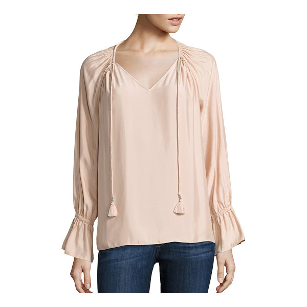 RAMY BROOK lanie solid top - Elegant wardrobe essential with tassel details.V-neck. Long...