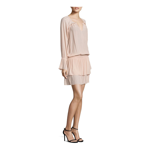 RAMY BROOK olivia bell sleeve blouson tiered dress - Easy blouson dress finished with tiered skirt. Split...