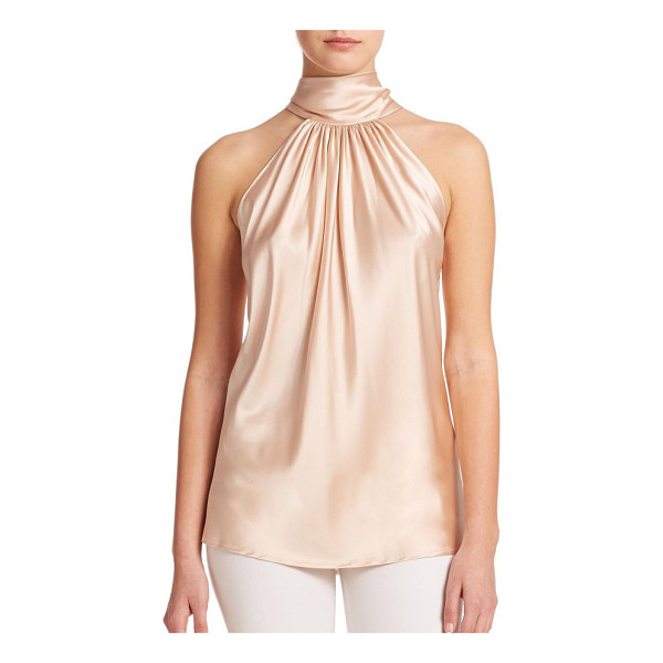 RAMY BROOK paige stretch-silk halter blouse - Elegant stretch-silk shirred blouse finished with a...