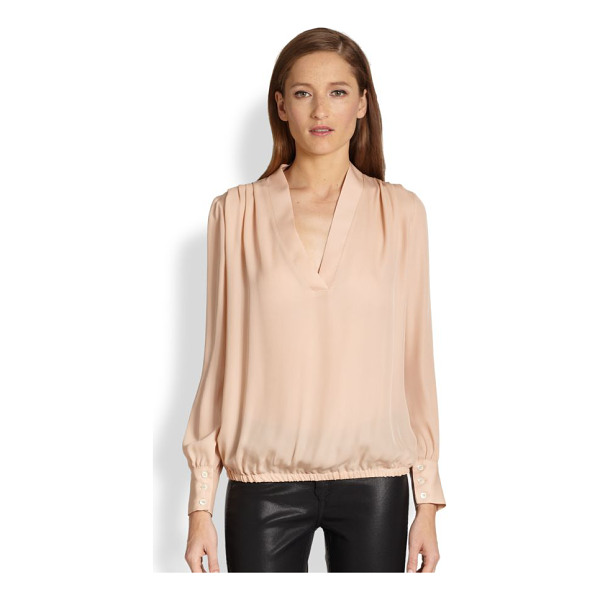 RAMY BROOK Silk pleated-shoulder blouse - This pale, beautifully hued silk blouse is detailed with...