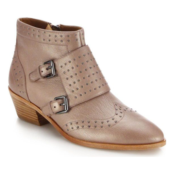 REBECCA MINKOFF Addison studded leather monk-strap booties - Petite studs trace an effortlessly cool ankle boot, set in...