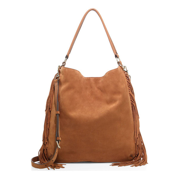 REBECCA MINKOFF clark fringe suede hobo bag - Slouchy suede silhouette with swishy fringe sides. Top