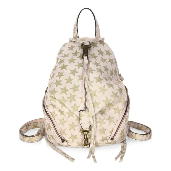 REBECCA MINKOFF convertible mini julian suede backpack - Suede backpack with an allover glittered star print. Top...