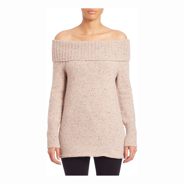 REBECCA MINKOFF erid off-the-shoulder merino wool blend sweater - Cozy merino wool blend sweater with folded neckline. Ribbed...