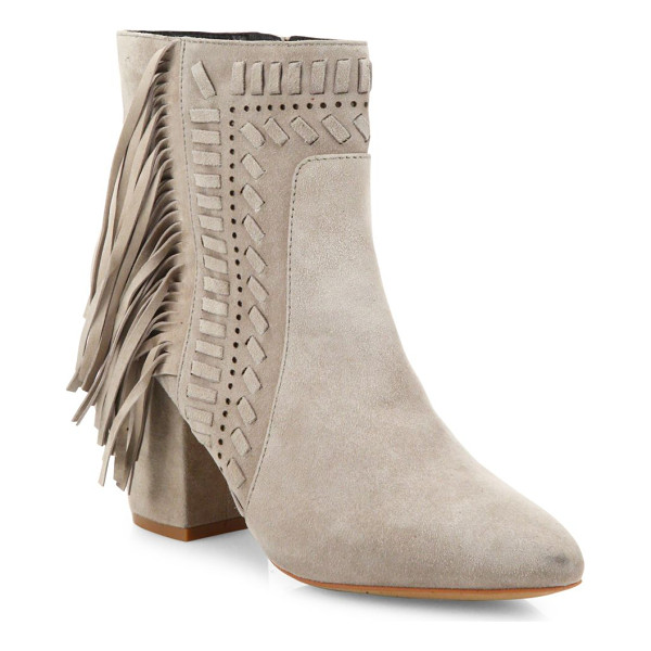 REBECCA MINKOFF ilan fringe suede block-heel booties - Fringe and woven trim further boho style of suede bootie....