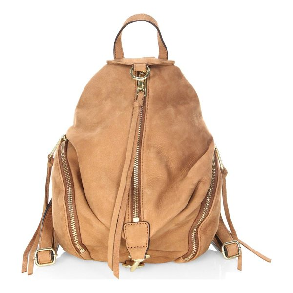 "REBECCA MINKOFF julian medium nubuck backpack - Uniquely shaped backpack in soft nubuck. Top handle, 3""..."