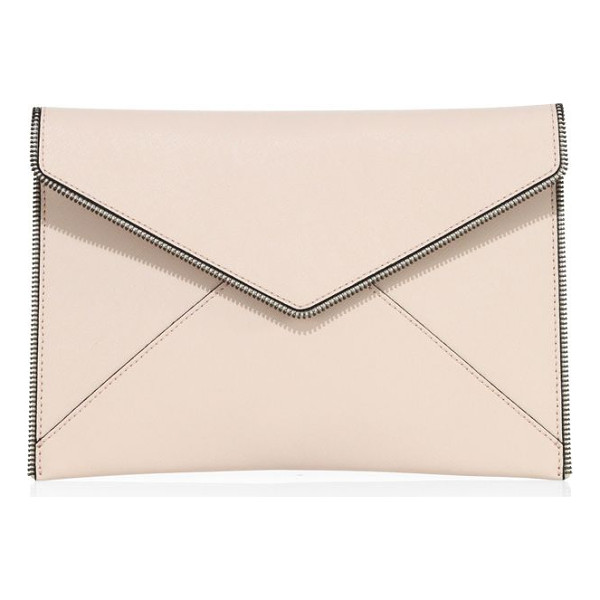REBECCA MINKOFF leo leather clutch - Soft envelope clutch with zipper teeth details. Magnetic...