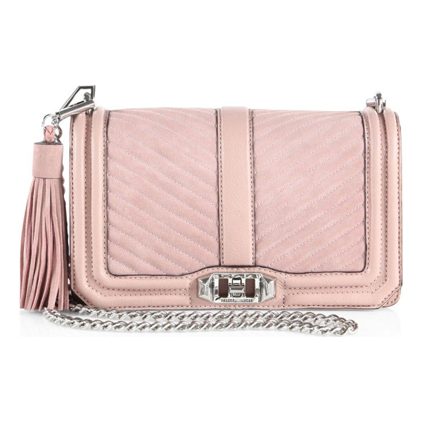 REBECCA MINKOFF Love quilted leather & suede crossbody bag - Quilted style with suede accents and tassel charm....