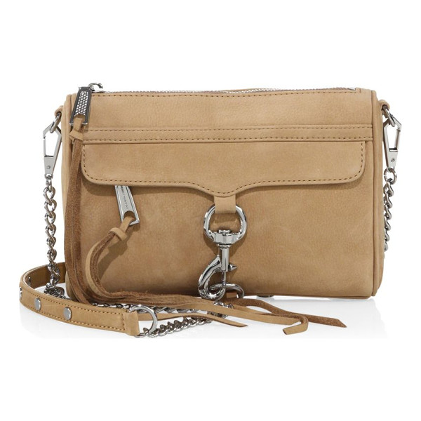 REBECCA MINKOFF mini mac nubuck crossbody bag - Soft crossbody bag with front lobster clasp trim. Removable...