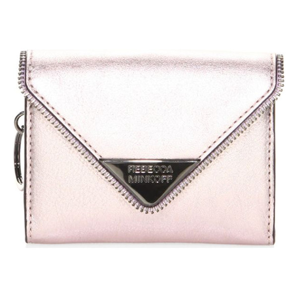 REBECCA MINKOFF molly metro leather clutch - Features a metallic finish throughout. Magnetic snap