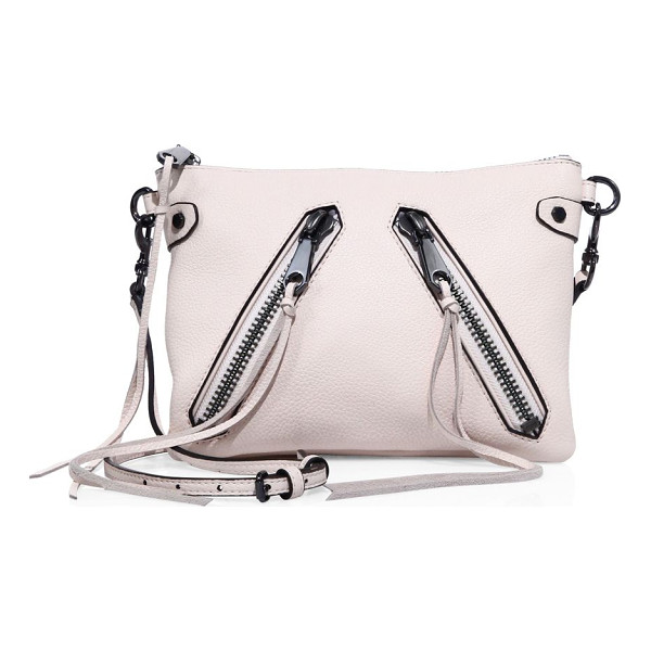 REBECCA MINKOFF moto jon leather crossbody bag - Flat leather crossbody with long zipper-pull tassels.