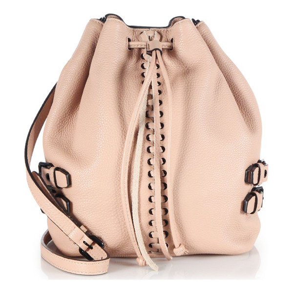 REBECCA MINKOFF Moto leather bucket bag - A whipstitched center and glossy metal buckles lend just a...