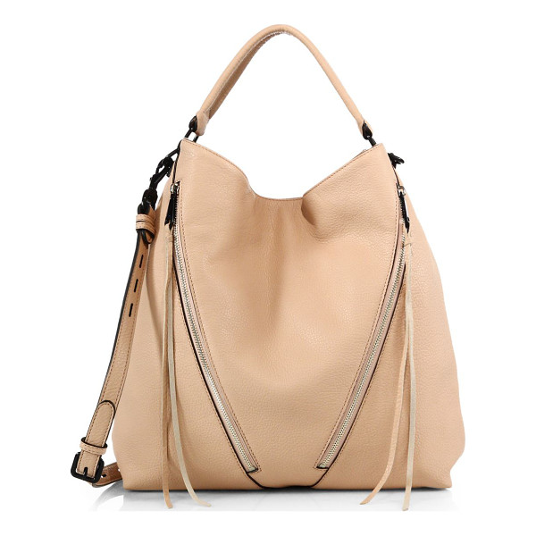 """REBECCA MINKOFF Moto small leather hobo bag - Slouchy-chic design with edgy black hardwareTop handle, 6""""..."""