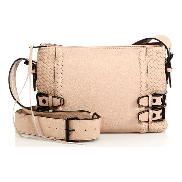 REBECCA MINKOFF Moto woven leather crossbody bag - Woven leather design with moto-inspired bucklesRemovable,...