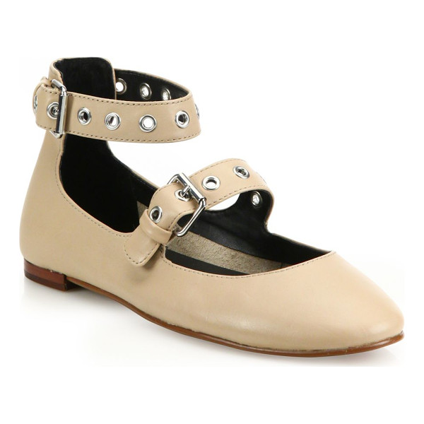 REBECCA MINKOFF rachel leather mary jane flats - Shiny grommets uplift the timeless leather Mary janes....