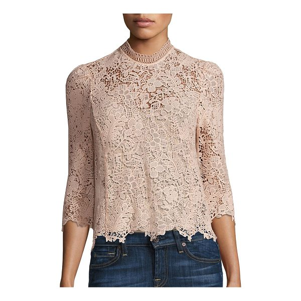 REBECCA TAYLOR arella floral lace mock top - Enchanting top tailored from floral lace fabric. Mockneck....