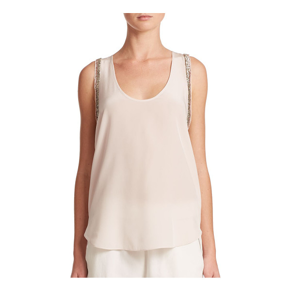 REBECCA TAYLOR Bugle bead silk tank top - Shimmering metallic-toned bugle beads trim this stunning...