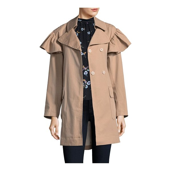 REBECCA TAYLOR faille belted trench coat - Cotton-blend trench coat with front button details. Notch...