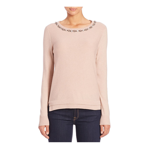 REBECCA TAYLOR Jewel-embellished wool & cashmere-blend sweater - A sparkling jeweled and beaded neckline, a darling keyhole...