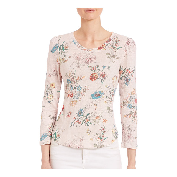 REBECCA TAYLOR meadow jersey floral-print top - Charming top with whimsical floral patterns. Round...