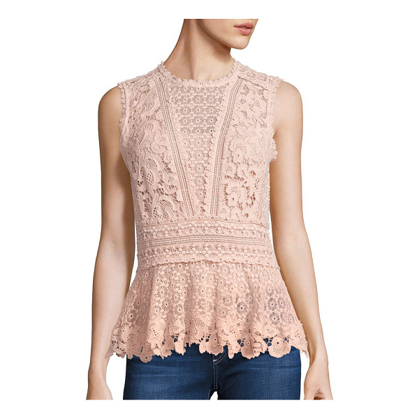 REBECCA TAYLOR sleeveless lace peplum top - Attractive lace elevates this tailored top. Scalloped...