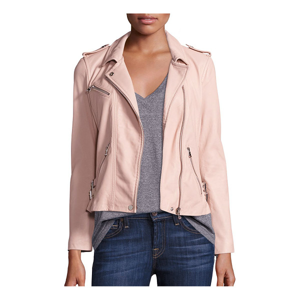 REBECCA TAYLOR washed leather cropped jacket - Washed leather jacket in a cropped silhouette. Notched...