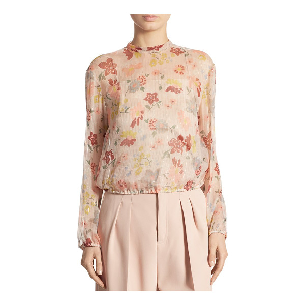 RED VALENTINO metallic floral-print blouse - Sheer floral blouse with shimmering metallic stripes....