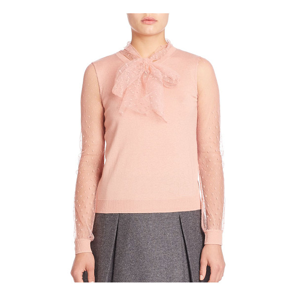 RED VALENTINO Sheer long sleeve knit blouse - Delicate knit blouse with cute bow style neck-tie. Crewneck...