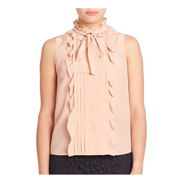 RED VALENTINO silk ruffle button-front blouse - Ruffles and pleats finish tie-neck silk blouse. Stand...